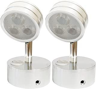 12v-ledlight Energy-saving LED Wall Sconce – Smart Looking Bedside Reading Light – Flexible Joint Brushed & Polished Interior Chart Lamp, 3w, Bright Natural White, Set of 2