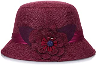 HongJie Hou Ladies Spring and Summer Sun hat Sunscreen Linen hat Stereo Flower Basin Cap (Color : Grey, Size : M56-58cm)
