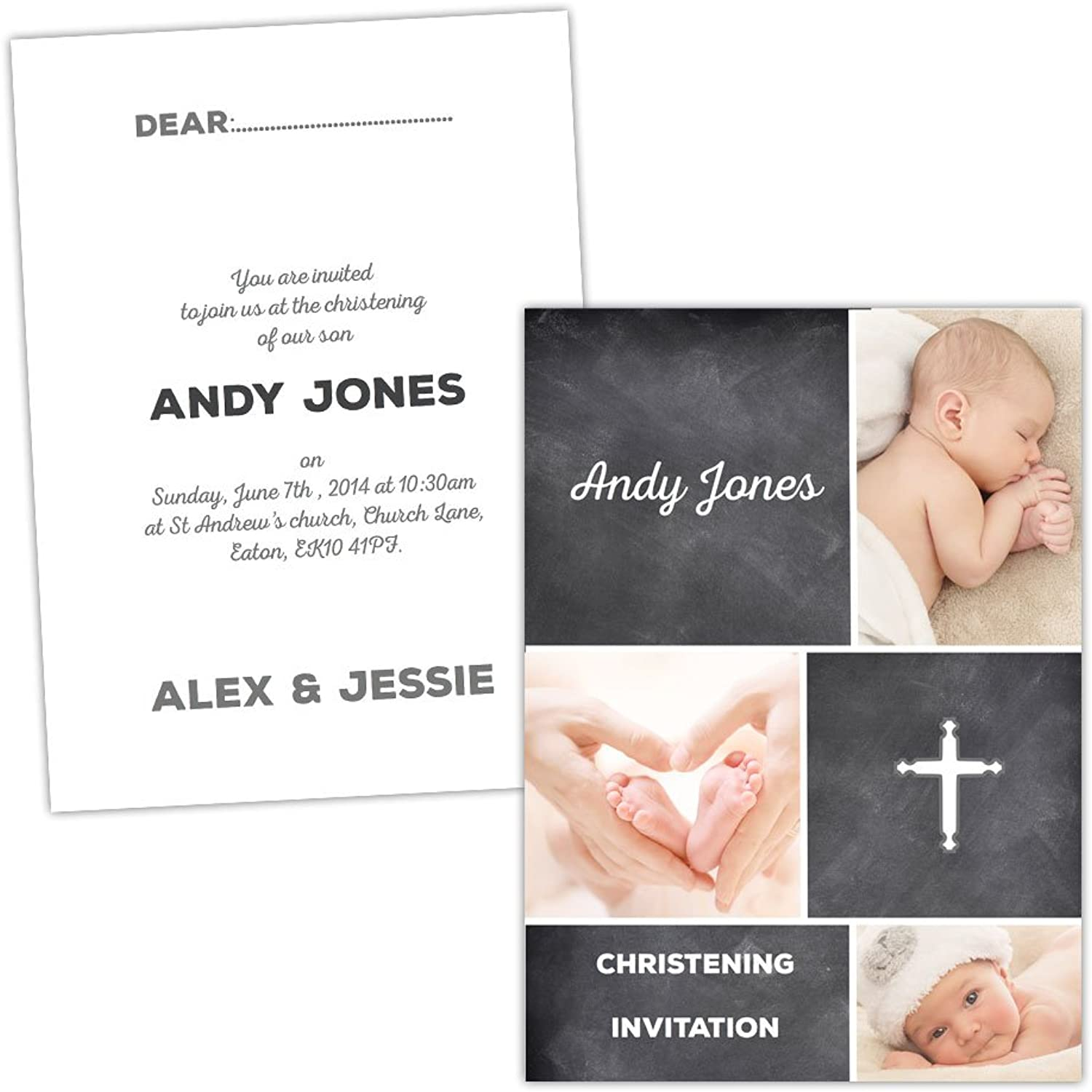 Made by Mika Personalised Christening invitations RETRO CHALK BOARD FREE DRAFT & FREE ENVELOPES (200, A6 folded Silk card)