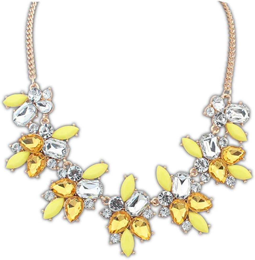 YICAIHUI Fashion Fine Jewelry Fresh and Sweet Crystal Jelly Color Flowers Statement Collars Necklaces & Pendant for Women