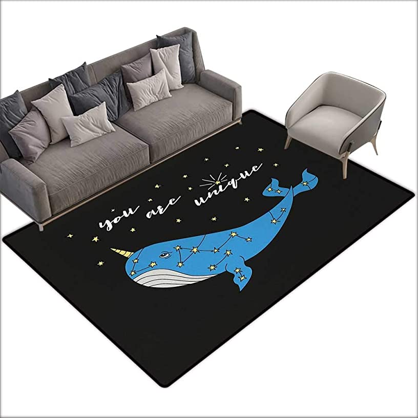 Door mat for Internal Anti-Slip mat Narwhal Cute Hand Drawn Cartoon Character Star Patterned Narwhal with Inspirational Quote W79 xL118