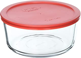 Pyrex COMINHKR090077 7 Cup Storage Capacity Plus Round Dish with Plastic Cover Sold in Packs of 4, Pack of 4, red