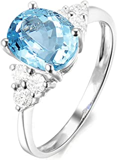 Wedding Band 925 Sterling Silver Oval Ring Engagement Women Ring Wedding with Blue Topaz
