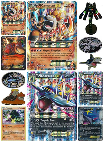 17 Piece Set: EX, Mega, Promo, & Jumbo Cards + 3 Online Code Cards + Coins & Pins - M Camerupt EX, M Sharpedo EX, Zygarde + More - Rare Holo Foil Pokemon Card Box Set