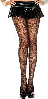 MUSIC LEGS Women's Floral Lace Spandex Pantyhose