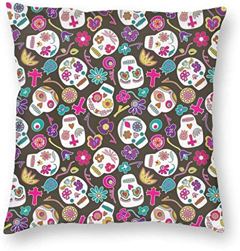Decorative Throw Pillow Cover Flowers Floral Sugar Skulls Pillowcase with Hidden Zipper Super Soft Square Pillow Cover Cushion Case for Sofa Couch Bedroom Car Living Room 18X18 Inch