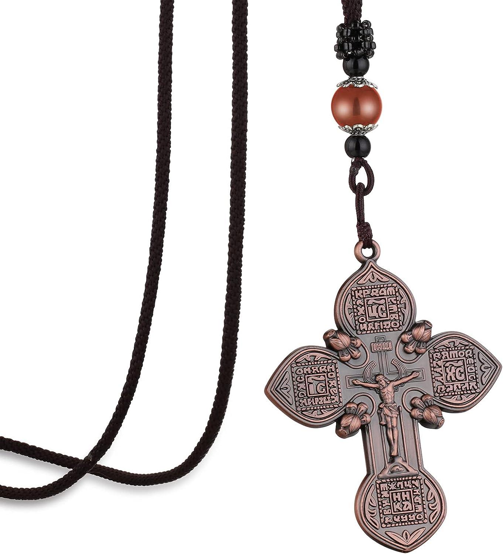 Cottvott Vintage Russian Orthodox Cross Pendant Necklace Mens Prayer Crucifix Jesus Braided Rope Chain