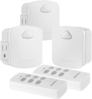 DEWENWILS Remote Outlet Switch, Wireless Remote Control Light Switch, 15A/1875W, 100 FT Range, Programmable, Low Profile Side Plug, White (2 Remotes + 3 Outlets Pack)