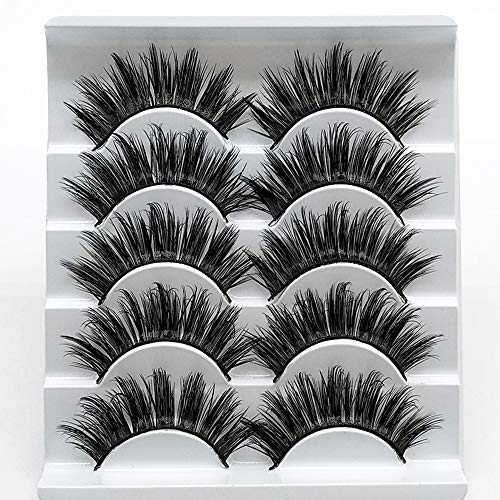 5 Paare Faux 3D Nerz Wimpern Multipack, falsche Wimpern Natürliche weiche falsche Wimpern Pack für Make-up Wimpernverlängerung(3D-04)