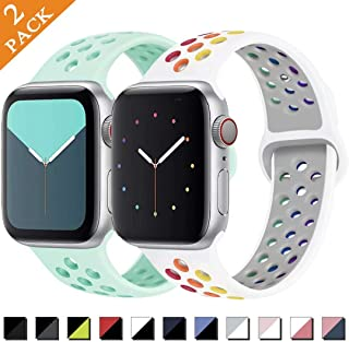 Zsuoop Sport Watch Band Compatible with Apple Watch Band 38mm 40mm 42mm 44mm,Soft Silicone Wristband for Iwatch Series 5,Series 4,Series 3,Series 2,Series 1,2pack