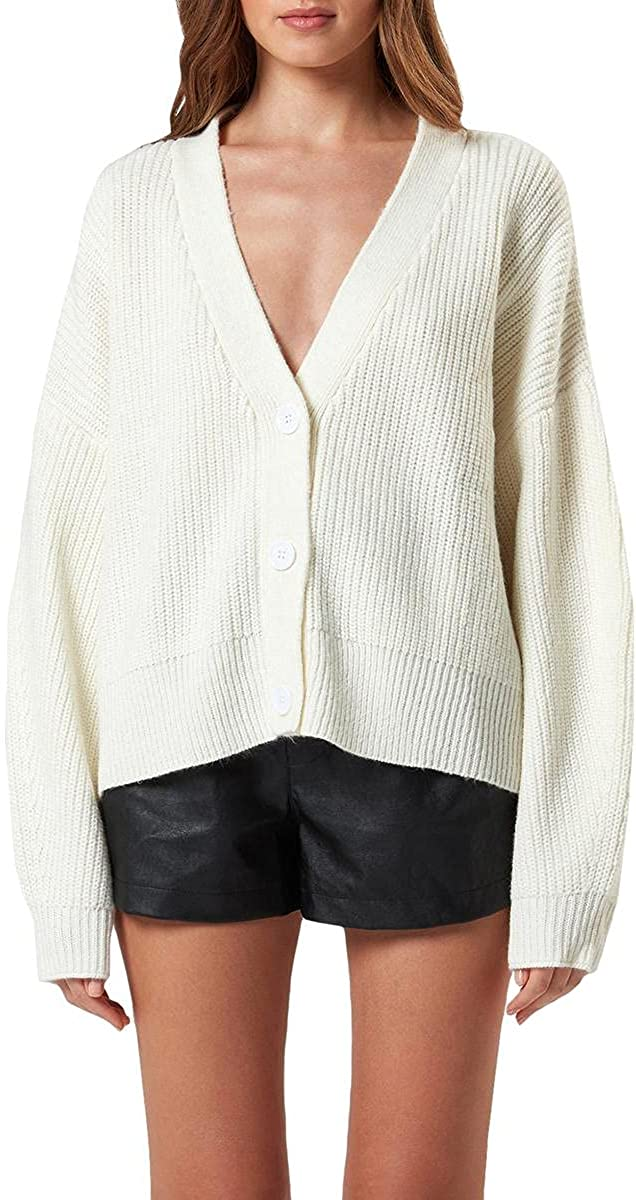 Charlie Holiday Womens Henry Wool Blend Button-Down Cardigan Sweater