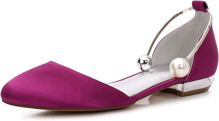 Elobaby Femmes Satin Chaussures De Mariage De Plate-Forme pour Les Femmes FerméEs Orteil Sandales Plates MariéE Demoiselle d'honneur Ronde Talon 1.5cm
