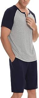 Men's Cotton Pyjama Sets Summer Short Sets 2 Pieces Nightwear Soft Tops and Bottoms Sleepwear Loungewear