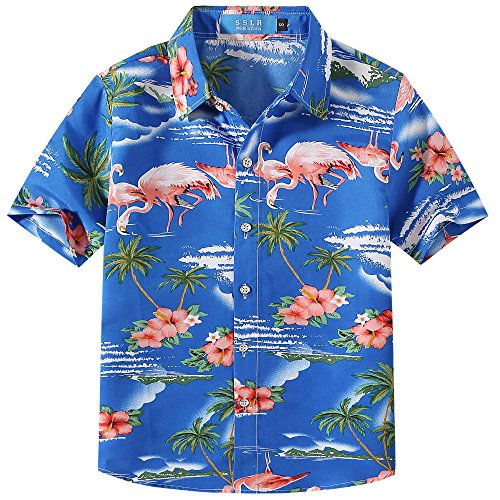 SSLR Big Boy's Flamingos Button Down Short Sleeve Aloha Hawaiian Shirt (Medium (10-12), Sapphire Blue)
