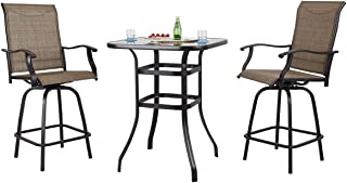 PHI VILLA Patio 3 PC Swivel Bar Sets Textilene High Bistro Sets, 2 Bar Stools and 1 Table, Brown