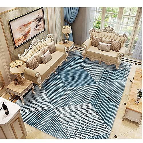 WCCCW Patrón de Costura geométrica Azul Duradera antiincrustantes Accesorios para el hogar Sofá Corredor Alfombra decorativa-130x190cm para el salón fácil de Limpiar Igual Que la Foto