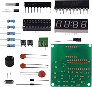 Organizer Digital LED Electronic Clock DIY Kits PCB Soldering Practice Learning Board AT89C2051 and Components DC 9V - 12V (4 Bits Digital)