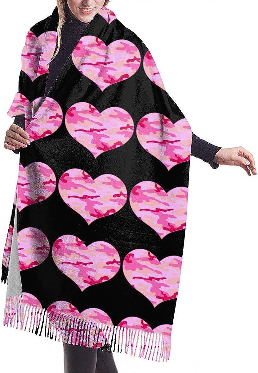 Pink Camo Heart Winter Scarf Cashmere Scarves Stylish Shawl Wraps Blanket