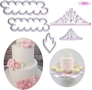 The Easiest Crown Cookie Cutter Set,Tiara Cutter,Crown and Princess Crown,The Easiest Peony Rose Cookie Cutter CupCake Decorating Gumpaste Flowers Fondant Mould(Set of 5)