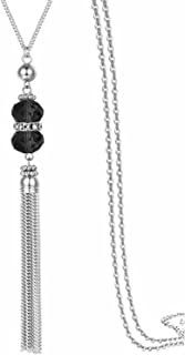 """Double Crystal Long Tassels Sweater Chain Pendant Necklace Mother Gift Jewelry 32"""""""