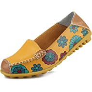 Ablanczoom Womens Comfortable Leather Floral Print Flats Casual Slip on Driving Loafers...