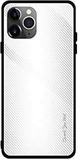 For iPhone 11 Pro Carbon Fiber Texture Gradient Color Glass Case New (Red) Hengk (Color : White)