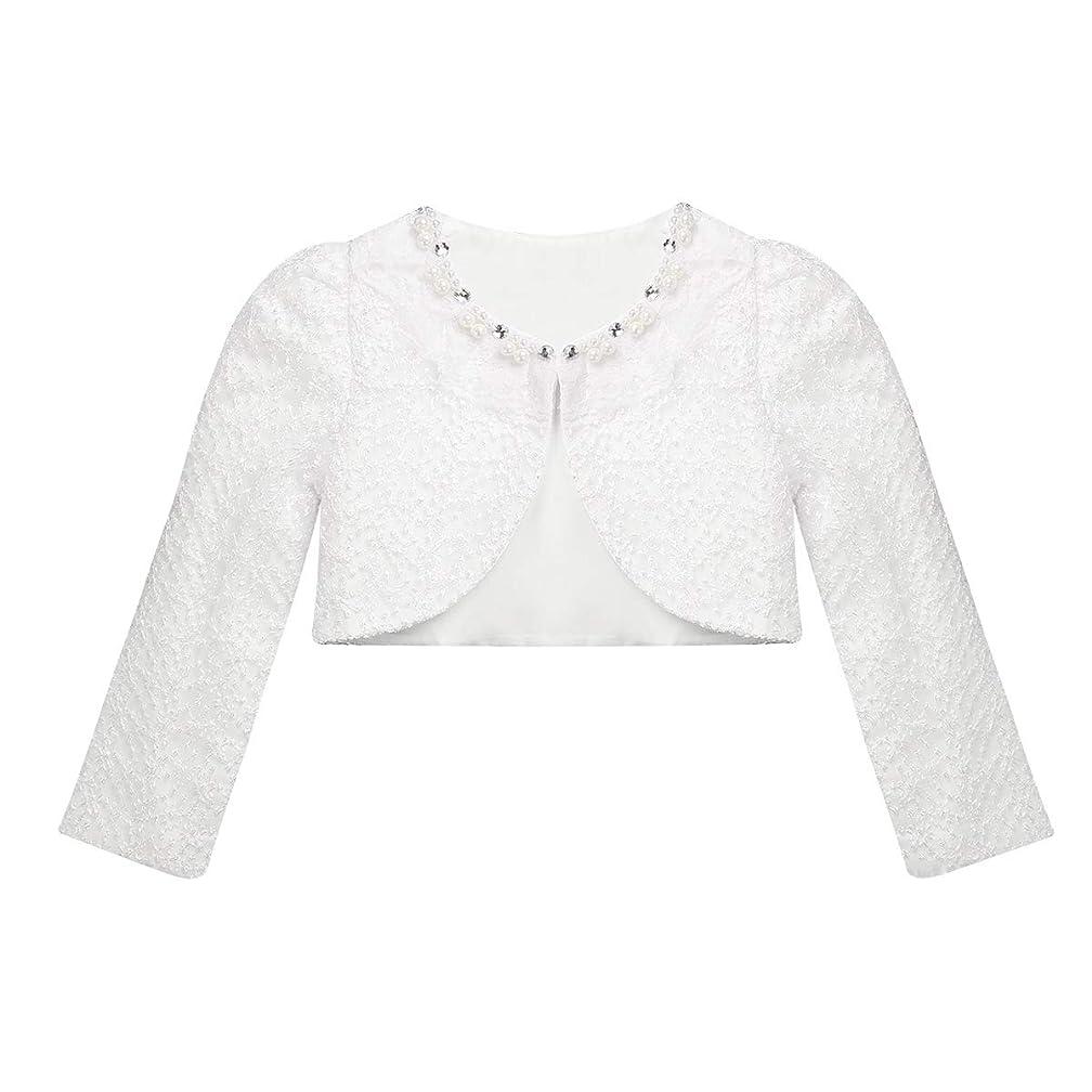 CHICTRY Little Girls' Long Sleeve Beaded Lace Bolero Cardigan Flower Girl Shrug Dress Cover Up