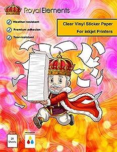 Royal Elements Printable Vinyl for Inkjet Printers - 20 Waterproof Sheets (Clear Printable Vinyl -20 Sheets)