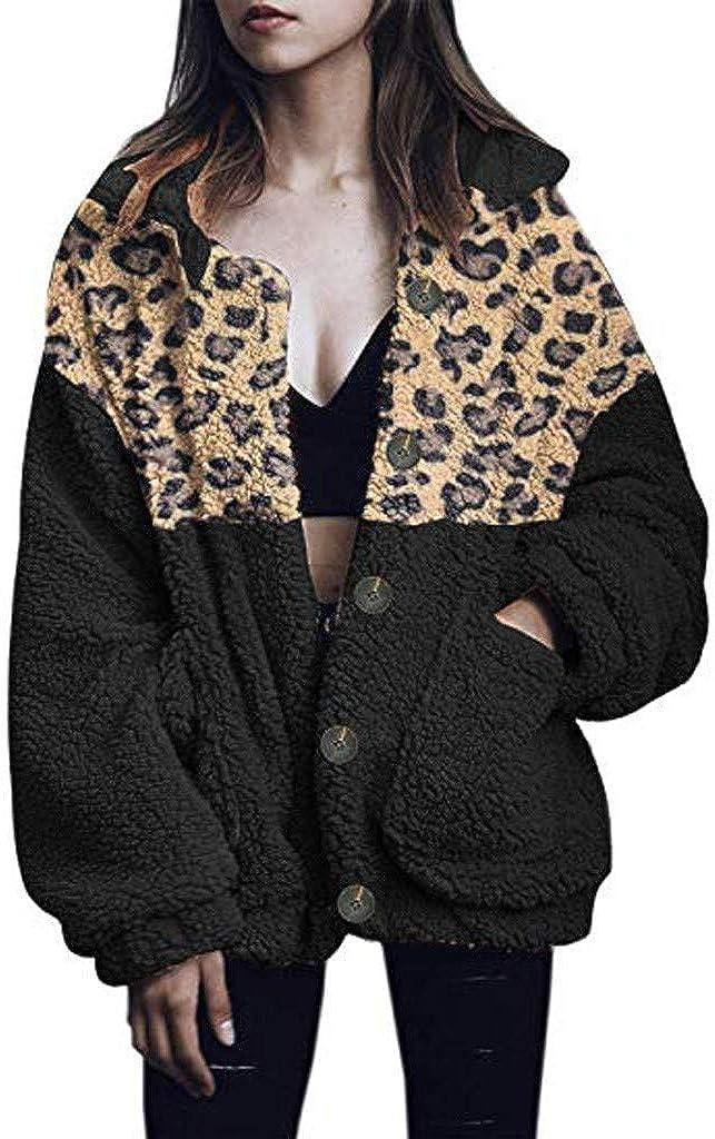 Plush Pocket Long Coat Women Winer Size Jacket Warm Plus Japan's largest assortment Leopard Max 72% OFF