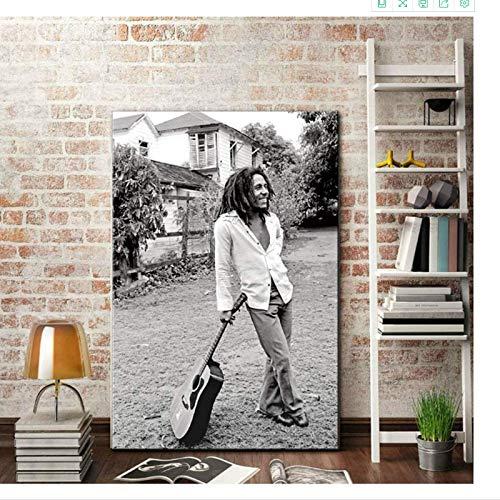 CAPTIVATE HEART Bild auf leinwand 30x50cm kein Rahmen Moderne Malerei Bob Marley Schwarz-Weiß-Bilder Kunstdruck gestreckte Kunstwerk Wohnzimmer groß