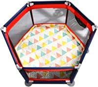 Folding Portable Baby Playpen,Toddler Creeping Play Yard with Double-sided Crawling Mat and Ball,Kid's Safety Activity Center Fence,with Zipper Door and Storage Bag Baby Play Yard
