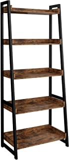 IRONCK Industrial Bookshelf 5-Tier, Bookcase Ladder...