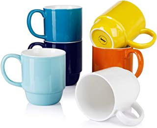 Sweese 609.002 Stackable Mug Set - 21 Ounce Large Coffee Mugs for Coffee, Tea, Cocoa, Set of 6, Hot Assorted Colors