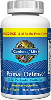 Garden of Life Whole Food Probiotic Supplement - Primal Defense HSO Probiotic Dietary Supplement for Digestive and Gut Health, 216 Vegetarian Caplets