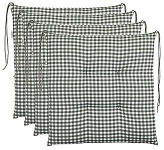 Cojín para silla de cuadros Brandsseller, acolchado para asiento de jardín,40x 40cm, colorantracita, gris claro, marrón o beige, algodón mezcla, verde, 4er-Paket
