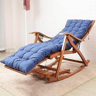 竹 ロッキングチェア パッド付き,折りたたみ マッサージ チェア チェア,調整 インフィニティチェア ガーデン シェーズ パティオチェア 青い