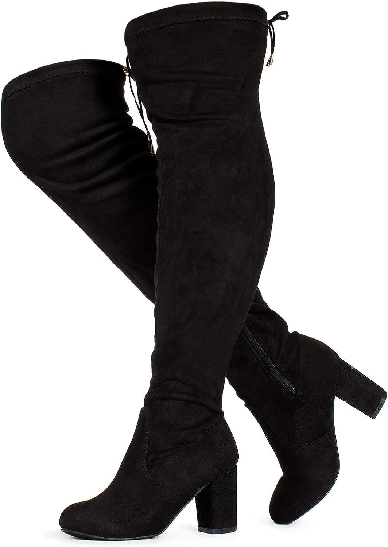 ROF Women's Fashion Comfy Vegan Suede Block Heel Side Zipper Thigh High Over The Knee Boots