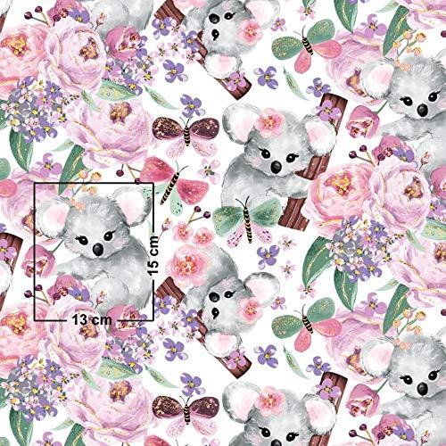 Pingianer Tela de algodón 100 % para niños, diseño de koala, por metros, artesanía, tela de costura, (conejo, luna, corazón, blanco), 100 x 160 cm