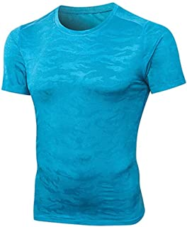 Mens T-Shirts Slim Fit Fitness Fast-Drying Short Sleeve Sweatshirts Polyester O-Neck Breathable Sports Tops EAZsyn8