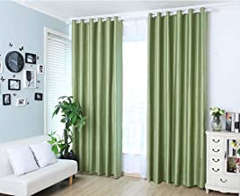 YJBear Cotton Linen Solid Color Thermal Insulated Blackout Curtains Grommet Top Curtain Panel Draperies Window Treatment Set for Living Room/Bedroom Green 78
