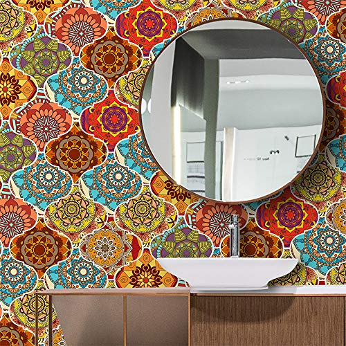vinilos pared,Pegatinas de azulejos de arco de cristal estilo mandala, 10 piezas de pegatinas de azulejos gruesos impermeables para sala de estar, cocina y baño