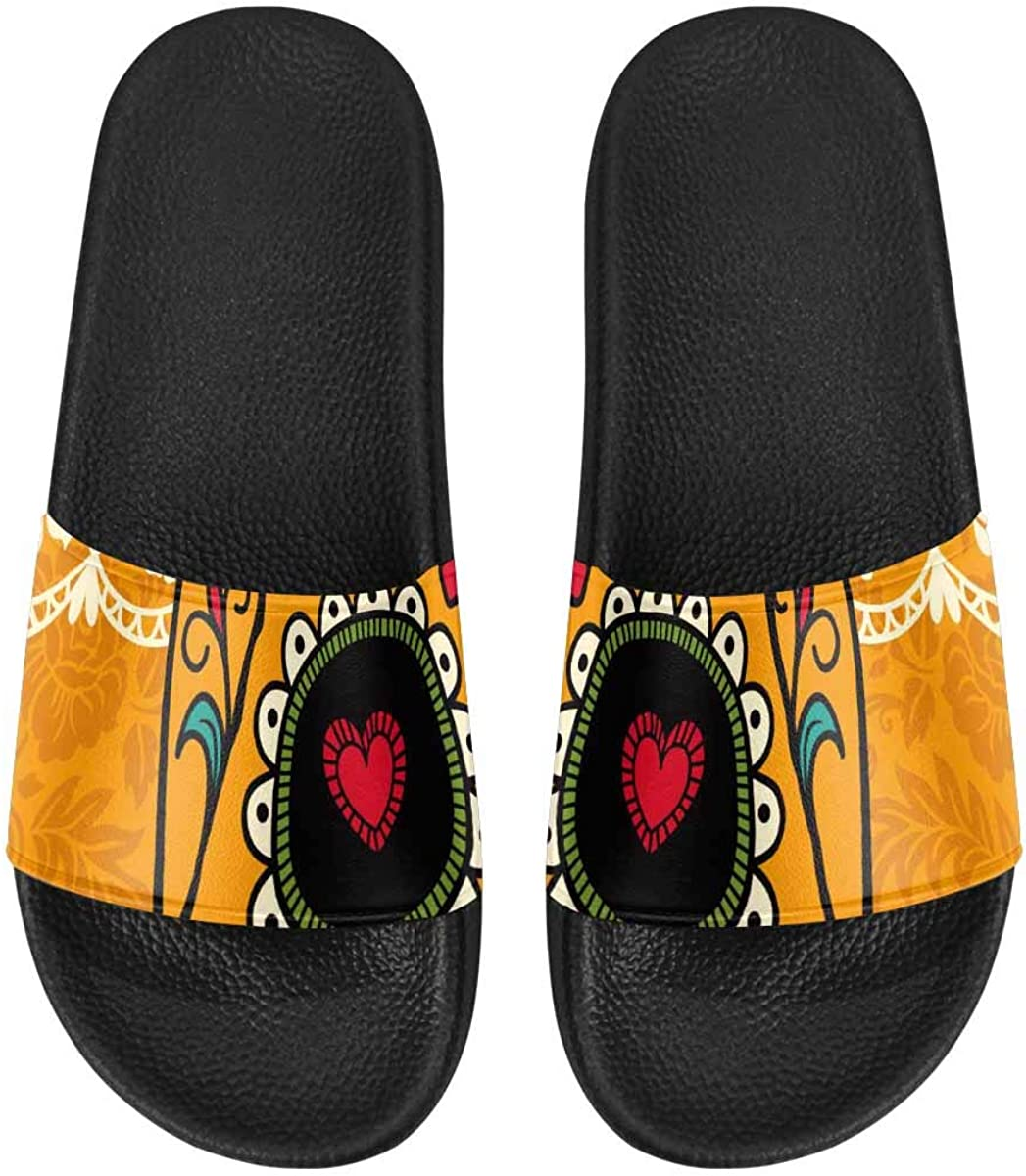 InterestPrint Indoor Stylish Sandals Slides for Women Mexican Day of The Dead
