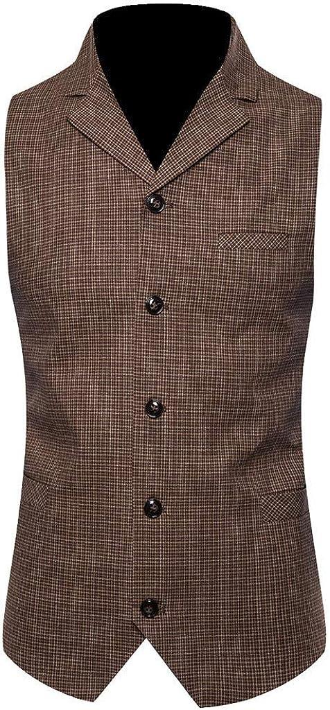 Mens Vintage Formal Single Breasted Waistcoat Tuxedo Suit Vest