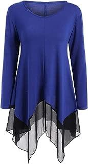 MogogoWomen Chiffon Splice Asymmetry Basic Cotton Blouse Tunic Tops