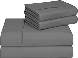 CASA COPENHAGEN Eternal Premium Collection 500 Thread-Count Premium Cotton 4 Pieces Double Bed Sheet Pillow Case Set, Grey