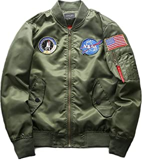 Men's NASA Motif Embroidery Long Sleeve Quilted Bomber Jacket Flight Clothing Coat Stand Collar Outerwear Pilot Jacket