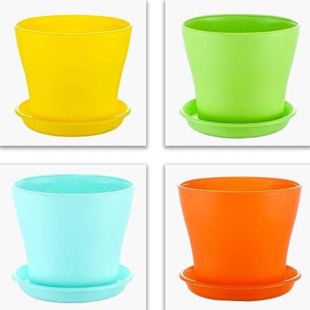 Kraft Seeds Plastic Flower Pots, 15 cm - Multicolour, 4 Pieces