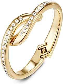 Mestige Women's Golden Annabelle Hinge Bracelet with Swarovski Crystals - MSBR3424
