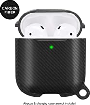 AirPods Case Protective Cover Compatible with AirPods Wireless Charging Case 2 & 1 with Keychain Full Protection Skin Cover Case,Front LED Visible (Black-Carbon Fiber)