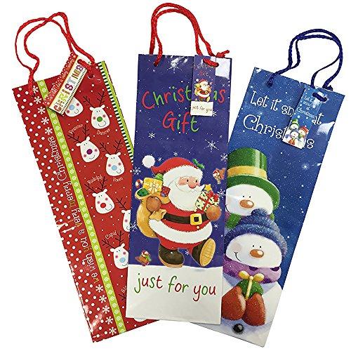 Christmas Shop lange Flasche Geschenk Tasche (3 Stück) (Einheitsgröße) (Rot/Blau)